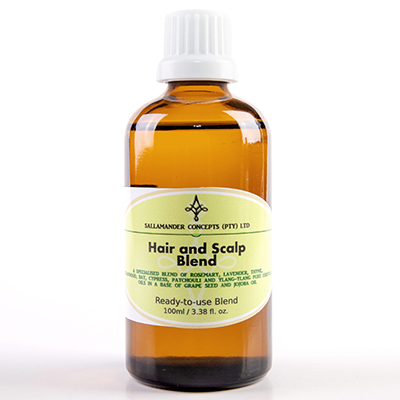Hair and Scalp Blend, a blend of Jojoba and Grape seed oil with Rosemary, Bay, Cedarwood, Lavender, Thyme, Patchouli, Cypress and Ylang Ylang essential oils