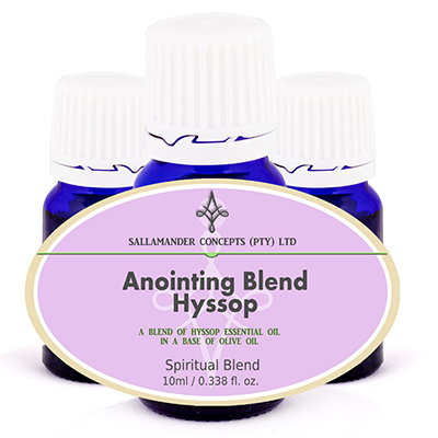 Hyssop Anointing Oil to be used for cleansing and purification of people, furnishings and places. Psalm 51:7, Numbers 19:18 and John 19:29