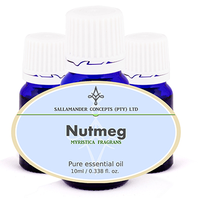 Nutmeg Essential Oil stimulates the heart and circulation, activates the mind and revives people from fainting spells, and stimulates the digestive system.