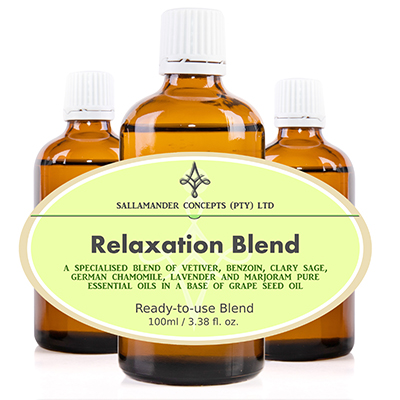 Relaxation Blend – A special blend of Grape seed oil with Vetivert, Benzoin, Clary Sage, Roman Camomile, Lavender and Marjoram essential oils.