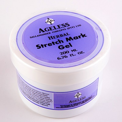 Stretch Mark Gel will prevent stretch marks and help heal the ones already formed and includes calendula, centella, ginseng, green tea and hibiscus.