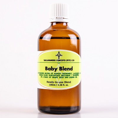 Baby Blend – A special blend of Grape seed and Jojoba oil with a low percentage of Roman Camomile, Lavender and Neroli essential oils.